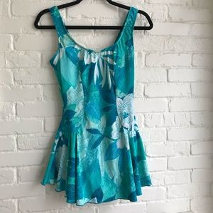 Maxine of Hollywood NEW swimdress 12 blue floral